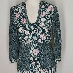 Boden Green White Floral Top EUC Size 6 Medium